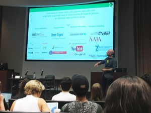 Whitaker explaining the resources that Google News Lab offers. Photo Credit: Madeleine Page