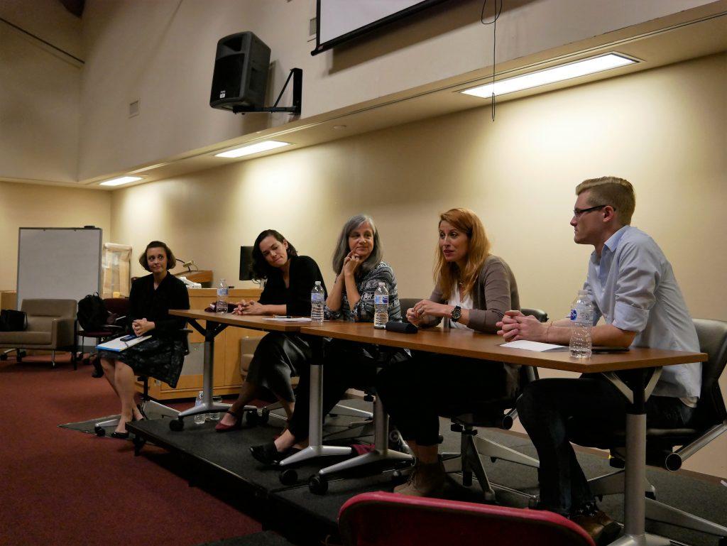Graduate student panel with moderator, Michel Haigh, and panelists: Nicole Jones, Debra Price, Megan Gray and Michael Coker